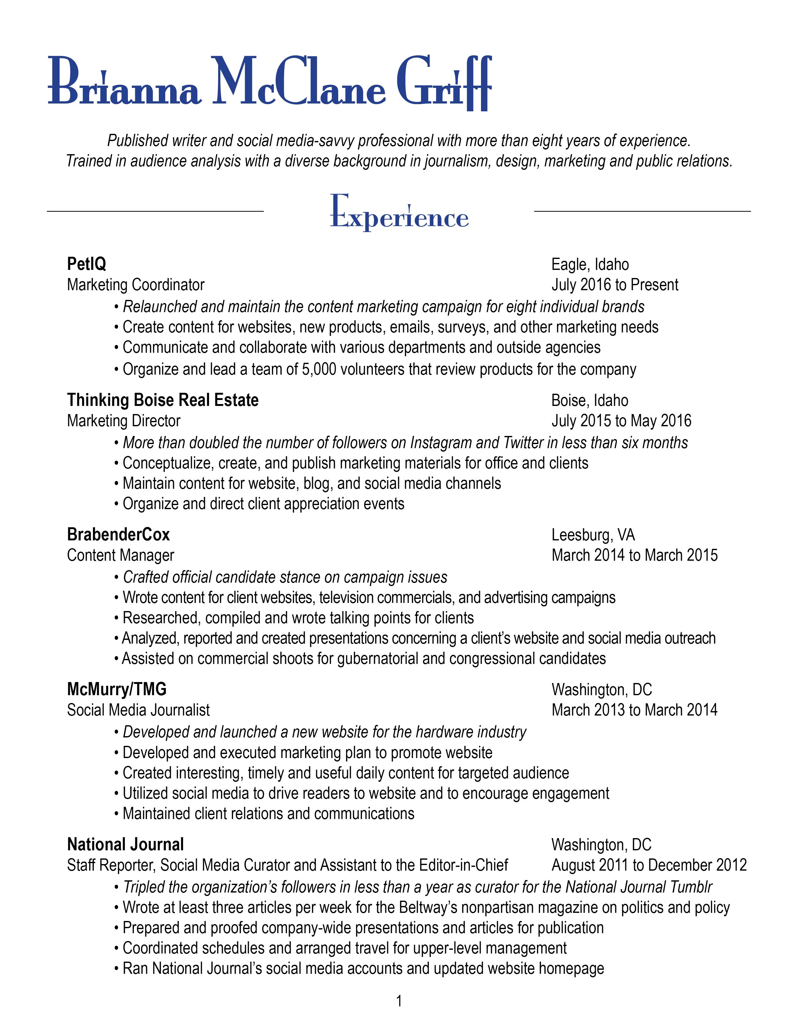 Resume – Brianna McClane Griff